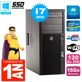 PC HP WorkStation Z210 Tour Core i7-2600 RAM 16Go SSD 120Go Graveur DVD Wifi W7
