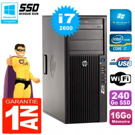 PC HP WorkStation Z210 Tour Core i7-2600 RAM 16Go SSD 240Go Graveur DVD Wifi W7