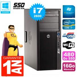 PC HP WorkStation Z210 Tour Core i7-2600 RAM 16Go SSD 480Go Graveur DVD Wifi W7