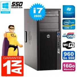 PC HP WorkStation Z210 Tour Core i7-2600 RAM 16Go SSD 960Go Graveur DVD Wifi W7