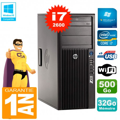 PC HP WorkStation Z210 Tour Core i7-2600 RAM 32Go 500Go Graveur DVD Wifi W7
