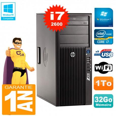 PC HP WorkStation Z210 Tour Core i7-2600 RAM 32Go 1To Graveur DVD Wifi W7