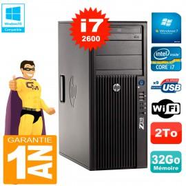PC HP WorkStation Z210 Tour Core i7-2600 RAM 32Go 2To Graveur DVD Wifi W7