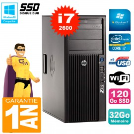 PC HP WorkStation Z210 Tour Core i7-2600 RAM 32Go SSD 120Go Graveur DVD Wifi W7