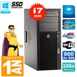 PC HP WorkStation Z210 Tour Core i7-2600 RAM 32Go SSD 960Go Graveur DVD Wifi W7