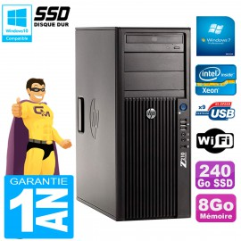 PC HP WorkStation Z210 Tour Xeon E3-1240 RAM 8Go SSD 240Go Graveur DVD Wifi W7