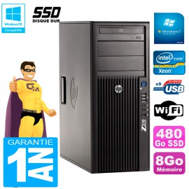 PC HP WorkStation Z210 Tour Xeon E3-1240 RAM 8Go SSD 480Go Graveur DVD Wifi W7