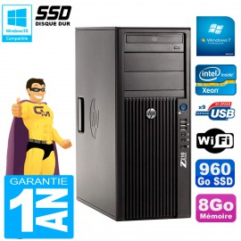 PC HP WorkStation Z210 Tour Xeon E3-1240 RAM 8Go SSD 960Go Graveur DVD Wifi W7