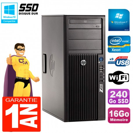 PC HP WorkStation Z210 Tour Xeon E3-1240 RAM 16Go SSD 240Go Graveur DVD Wifi W7