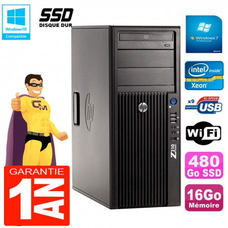 PC HP WorkStation Z210 Tour Xeon E3-1240 RAM 16Go SSD 480Go Graveur DVD Wifi W7