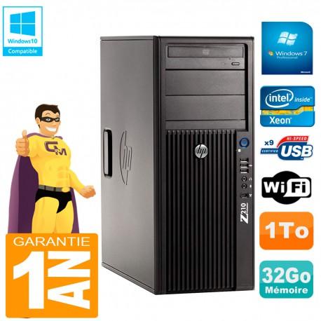 PC HP WorkStation Z210 Tour Xeon E3-1240 RAM 32Go 1To Graveur DVD Wifi W7