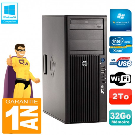 PC HP WorkStation Z210 Tour Xeon E3-1240 RAM 32Go 2To Graveur DVD Wifi W7
