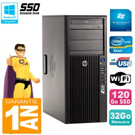 PC HP WorkStation Z210 Tour Xeon E3-1240 RAM 32Go SSD 120Go Graveur DVD Wifi W7