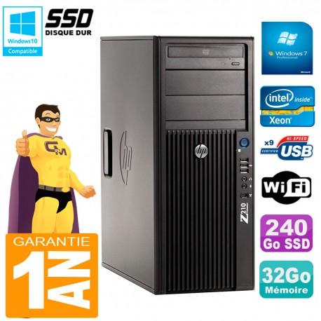 PC HP WorkStation Z210 Tour Xeon E3-1240 RAM 32Go SSD 240Go Graveur DVD Wifi W7