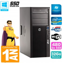 PC HP WorkStation Z210 Tour Xeon E3-1240 RAM 32Go SSD 480Go Graveur DVD Wifi W7