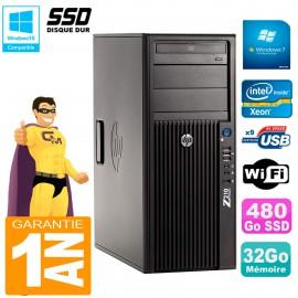 PC HP WorkStation Z210 Tour Xeon E3-1240 RAM 32Go SSD 480Go Graveur DVD Wifi W7