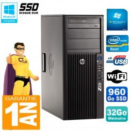 PC HP WorkStation Z210 Tour Xeon E3-1240 RAM 32Go SSD 960Go Graveur DVD Wifi W7