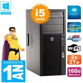 PC HP WorkStation Z210 Tour Core i5-2400 RAM 16Go 2 x 2To Graveur DVD Wifi W7