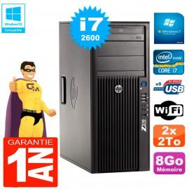PC HP WorkStation Z210 Tour Core i7-2600 RAM 8Go 2 x 2To Graveur DVD Wifi W7