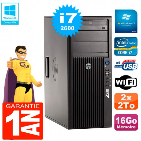PC HP WorkStation Z210 Tour Core i7-2600 RAM 16Go 2 x 2To Graveur DVD Wifi W7