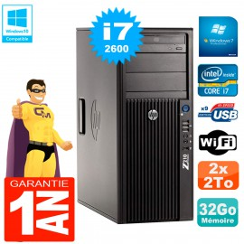 PC HP WorkStation Z210 Tour Core i7-2600 RAM 32Go 2 x 2To Graveur DVD Wifi W7