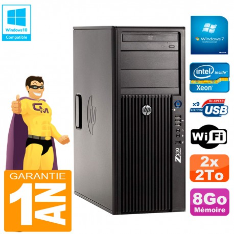 PC HP WorkStation Z210 Tour Xeon E3-1240 RAM 8Go 2 x 2To Graveur DVD Wifi W7