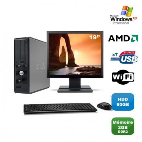"""Lot PC DELL Optiplex 740 SFF Athlon 2.7GHz 2Go DDR2 80Go WIFI XP Pro + Ecran 19"""""""