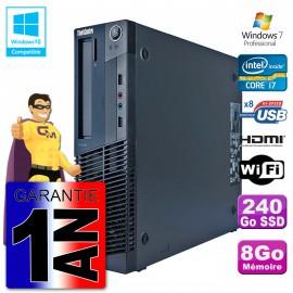 Lenovo PC M91p SFF Intel I7-2600 8Go DDR3 SSD 240Go Wifi W7 (Reconditionné Certifié)