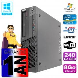 Lenovo PC M92p SFF Intel I5-3470 8Go DDR3 SSD 240Go Wifi W7 (Reconditionné Certifié)