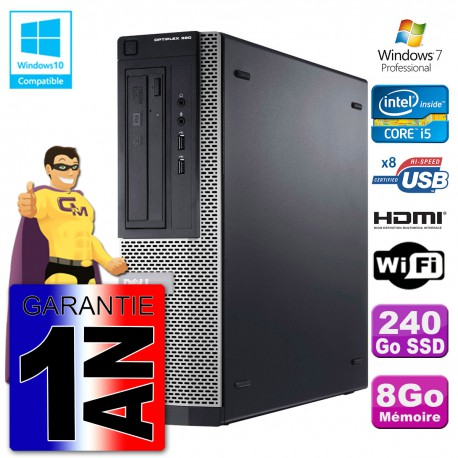Dell PC 390 DT Intel I5-2400 8Go DDR3 SSD 240Go Wifi W7 HDMI (Reconditionné Certifié) Cover