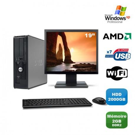 Lot PC DELL Optiplex 740 SFF Athlon 2.7GHz 2Go 2000Go WIFI DVD XP Pro + Ecran 19