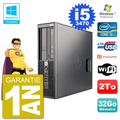 PC HP WorkStation Z220 SFF Core i5-3470 RAM 32Go Disque 2To Graveur DVD Wifi W7