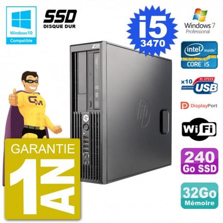 PC HP WorkStation Z220 SFF Core i5-3470 RAM 32Go SSD 240Go Graveur DVD Wifi W7