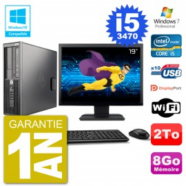 "PC HP Z220 SFF Ecran 19"" Core i5-3470 RAM 8Go Disque 2To Graveur DVD Wifi W7"