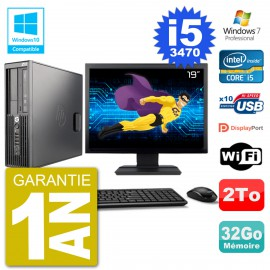 "PC HP Z220 SFF Ecran 19"" Core i5-3470 RAM 32Go Disque 2To Graveur DVD Wifi W7"