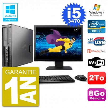 "PC HP Z220 SFF Ecran 22"" Core i5-3470 RAM 8Go Disque 2To Graveur DVD Wifi W7"