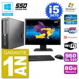 "PC HP Z220 SFF Ecran 22"" Core i5-3470 RAM 8Go SSD 960Go Graveur DVD Wifi W7"