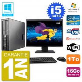 "PC HP Z220 SFF Ecran 22"" Core i5-3470 RAM 16Go Disque 1To Graveur DVD Wifi W7"