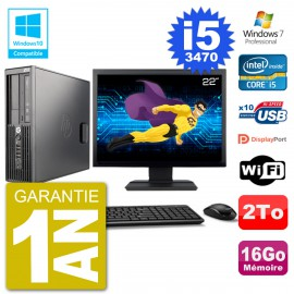 "PC HP Z220 SFF Ecran 22"" Core i5-3470 RAM 16Go Disque 2To Graveur DVD Wifi W7"