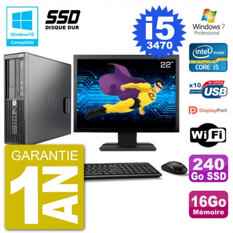 "PC HP Z220 SFF Ecran 22"" Core i5-3470 RAM 16Go SSD 240Go Graveur DVD Wifi W7"