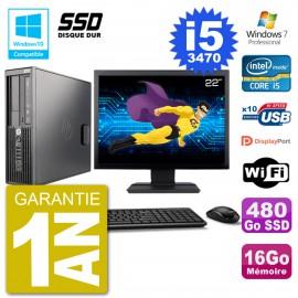 "PC HP Z220 SFF Ecran 22"" Core i5-3470 RAM 16Go SSD 480Go Graveur DVD Wifi W7"