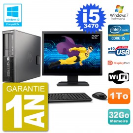 "PC HP Z220 SFF Ecran 22"" Core i5-3470 RAM 32Go Disque 1To Graveur DVD Wifi W7"