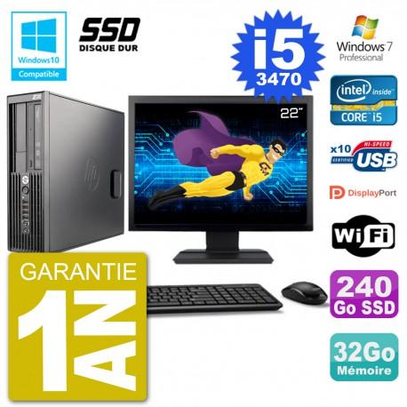 "PC HP Z220 SFF Ecran 22"" Core i5-3470 RAM 32Go SSD 240Go Graveur DVD Wifi W7"