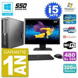 "PC HP Z220 SFF Ecran 22"" Core i5-3470 RAM 32Go SSD 480Go Graveur DVD Wifi W7"