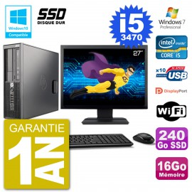 "PC HP Z220 SFF Ecran 27"" Core i5-3470 RAM 16Go SSD 240Go Graveur DVD Wifi W7"