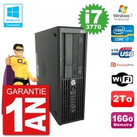 PC HP WorkStation Z220 SFF Core i7-3770 RAM 16Go Disque 2To Graveur DVD Wifi W7