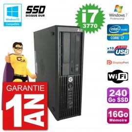 PC HP WorkStation Z220 SFF Core i7-3770 RAM 16Go SSD 240Go Graveur DVD Wifi W7