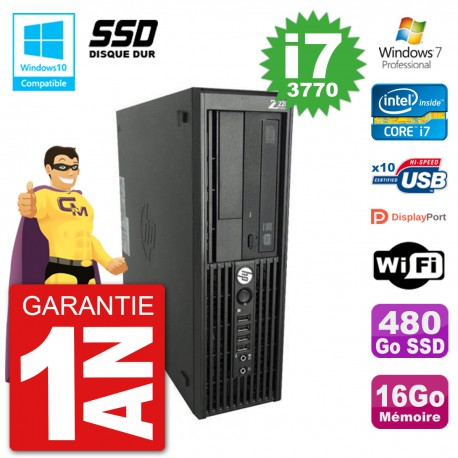 PC HP WorkStation Z220 SFF Core i7-3770 RAM 16Go SSD 480Go Graveur DVD Wifi W7