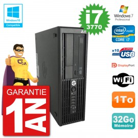 PC HP WorkStation Z220 SFF Core i7-3770 RAM 32Go Disque 1To Graveur DVD Wifi W7