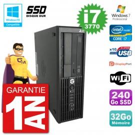 PC HP WorkStation Z220 SFF Core i7-3770 RAM 32Go SSD 240Go Graveur DVD Wifi W7